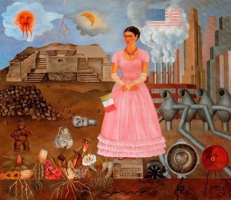 Frida Kahlo >> Self-Portrait on the Bordeline Between Mexico and the United States