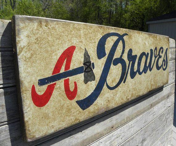 Atlanta Braves baseball Sign, original, art, hand lettered, faux vintage, wall hanging, sports decor