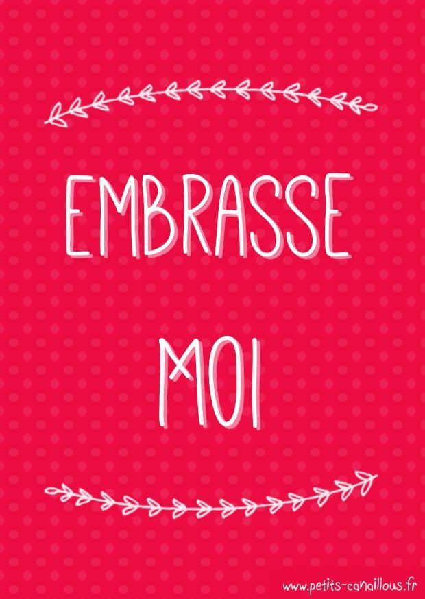 Carte de saint valentin à imprimer [gratuit] Embrasse moi, par petits-canaillous.fr Free printable