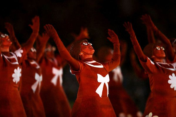Dancers perform during the Closing Ceremony on Day 16 of the Rio 2016 Olympic…