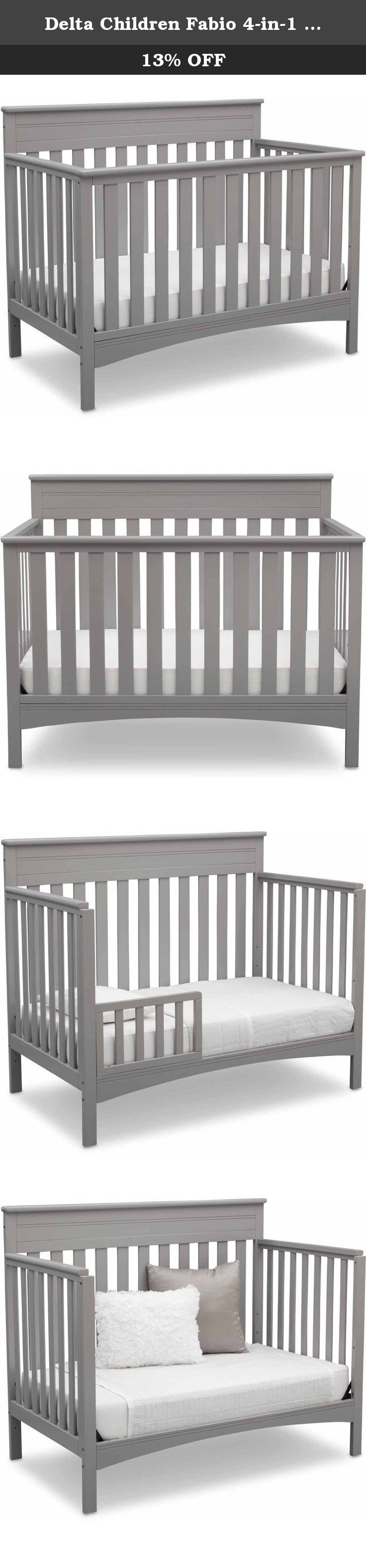 Delta Children Fabio 4-in-1 Crib. The Fabio 4-in-1 Crib from Delta Children blends classic styling with contemporary convenience for a convertible crib that meets your baby's changing needs. Boasting a handsomely crafted headboard with molded detailing and clean lines, this strong and sturdy crib with three mattress adjustment levels also turns into a toddler bed, daybed and full size bed, growing alongside your child (Toddler Guardrail and Full Size Bed Rails sold separately). -Converts...