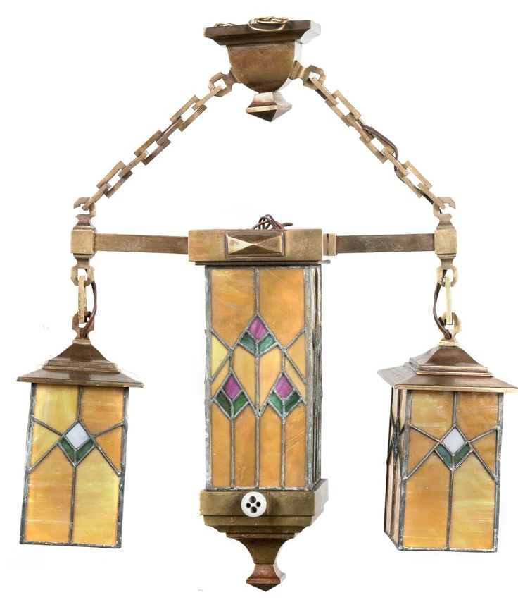 craftsman style lighting. arts and crafts brass leaded glass chandelier lot 2359 craftsman style lighting l