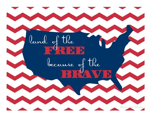 Land of the FREE because of the BRAVE print at Mine for the Making. Perfect for Memorial Day and Fourth of July. Download, print, frame!