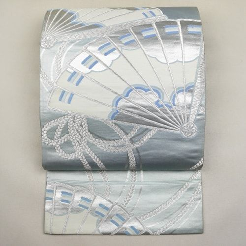 Blue silver, silk fukuro obi / 雅な檜扇柄を施した袋帯 http://www.rakuten.co.jp/aiyama #Kimono #Japan #aiyamamotoya