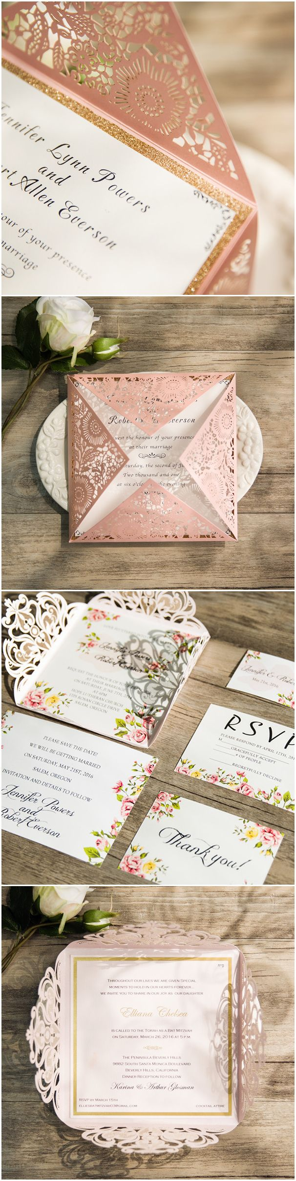 second wedding invitations wording%0A shades of pink wedding invitations  laser cut wedding invitations
