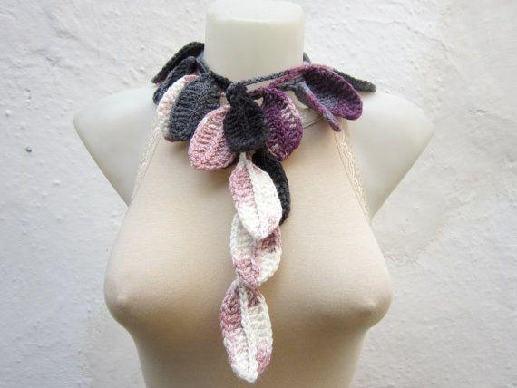 Handmade crochet Lariat Scarf Grey Purple Lilac by scarfnurlu