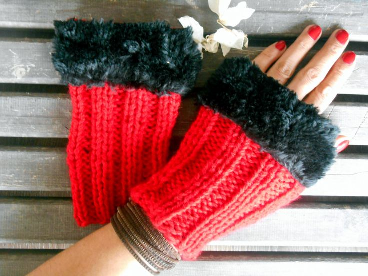 Knitted Gloves,Crochet Gloves,Red Gloves, Handmade,Fingerless Gloves,Winter Gloves, Knit Long Gloves,Women Gloves, Black Fake Fur,Gift Ideas by YASEMINYASEMIN on Etsy