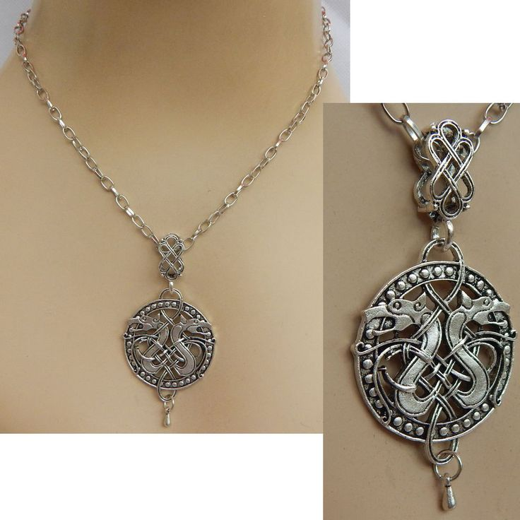 Necklace Dragon Pendant Jewelry Handmade NEW adjustable Celtic Dragons Silver #Handmade #Pendant