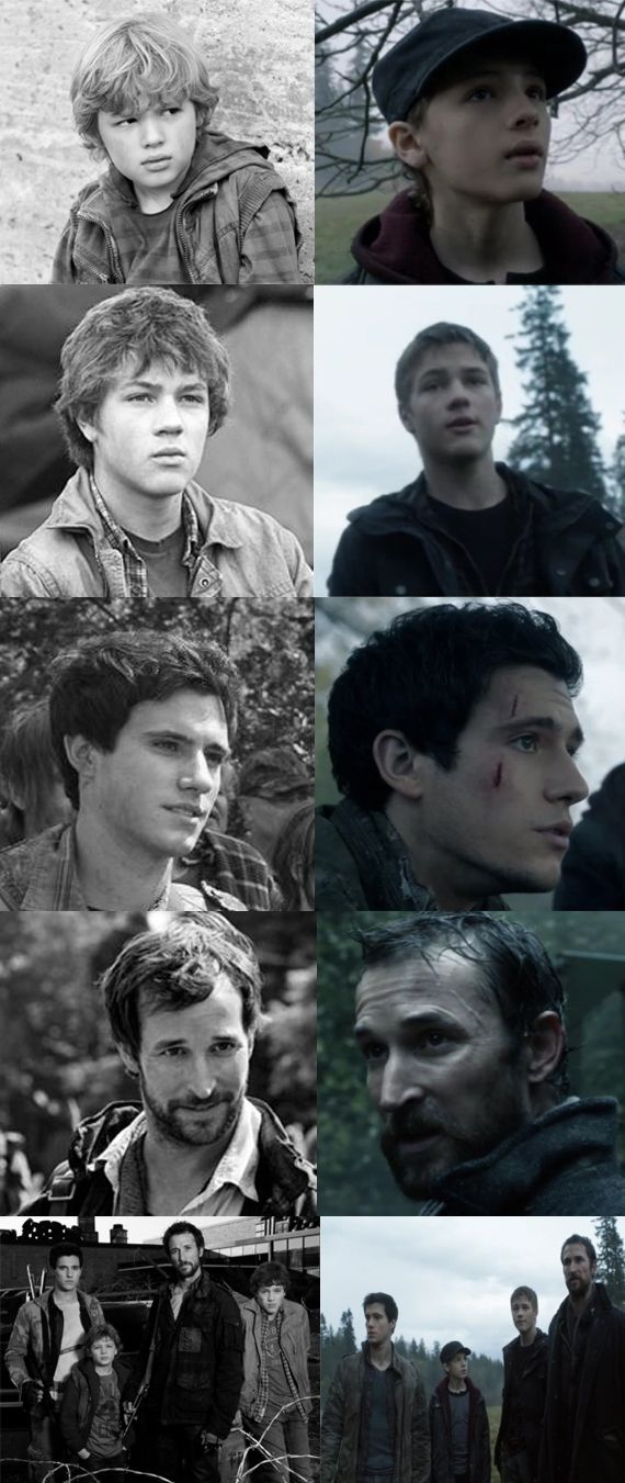 "The Mason family then and now from the TV Show ""Falling Skies""."