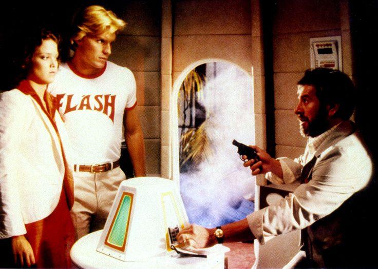 """Flash Gordon"" movie still, 1980.  L to R: Melody Anderson, Sam J. Jones, Topol."