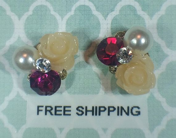 2 pc Ivory Rose / Pearl / Crystal Alloy Flower Cluster Charm Nail Art or Crafts *Free Shipping*