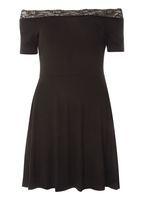 Womens Petite Black Lace Bardot Dress- Black