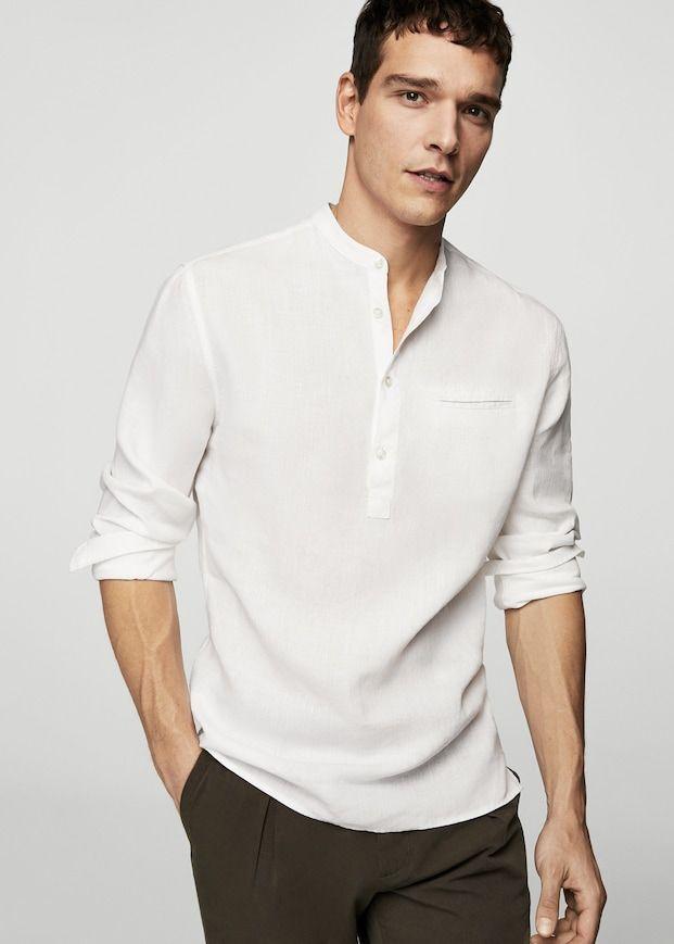 Camicia bianca collo alla coreana di lino