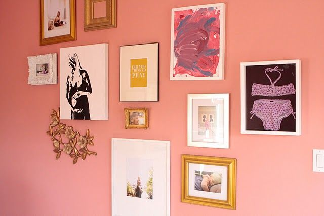 cute gallery wall for girls room - love the framed bikini via meohmy