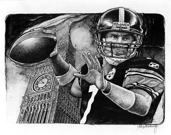 Ron Mahoney Steelers Art Big Ben Pittsburgh Pirates