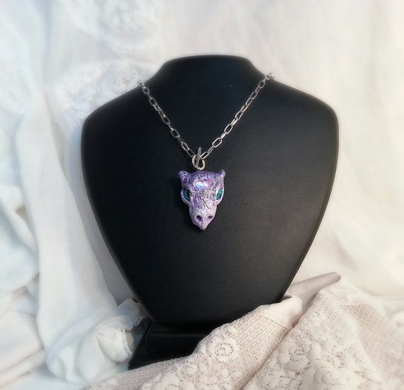 Dragon head Necklace, lilacs and blue eyes