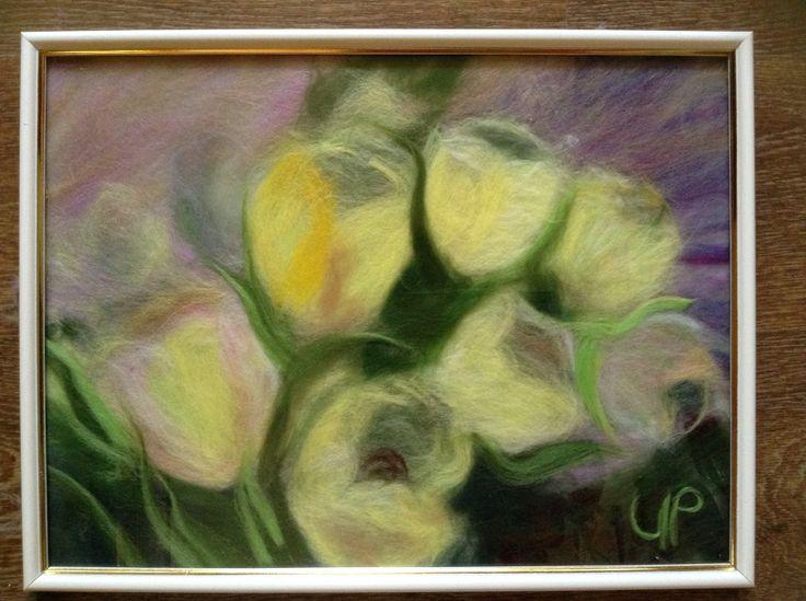 Тюльпаны. Картины из шерсти.