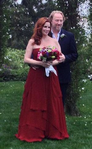 Melissa Gilbert Wears a Red Dress to Marry Timothy Busfield  By Suzy Byrne  Both she and Busfield, who have known each other for more than two decades and became engaged over the holidays, have each been married twice before. Between them they have five children — two for her, three for him.
