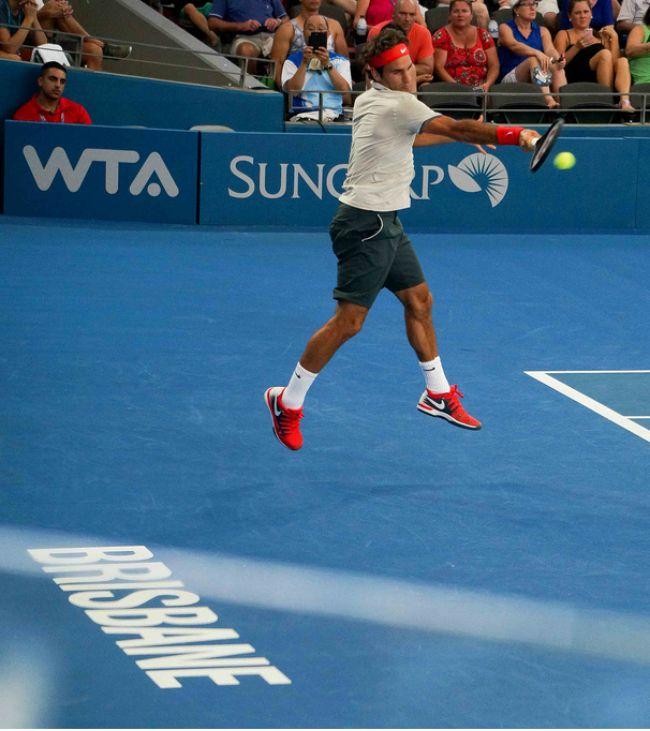 Roger Federer - Brisbane Roger forehand in the air.