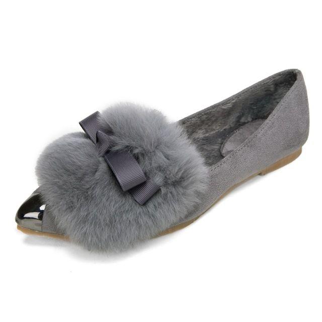 Femmes bout pointu véritable lapin de fourrure d'hiver plat grande taille chaussures femme appartements txh612-3