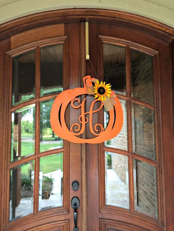 Letters To Hang On Front Door Part - 49: Our New Pumpkin Monograms Are Sold Unfinished. Create Your Own Fall Themed  Wreath Or Door Hang With Our New Pumpkin Monograms!