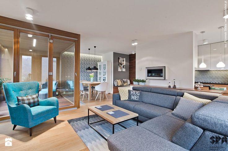 Apartament Wille Parkowa 2 - Średni salon z kuchnią z jadalnią - zdjęcie od superpozycja architekci