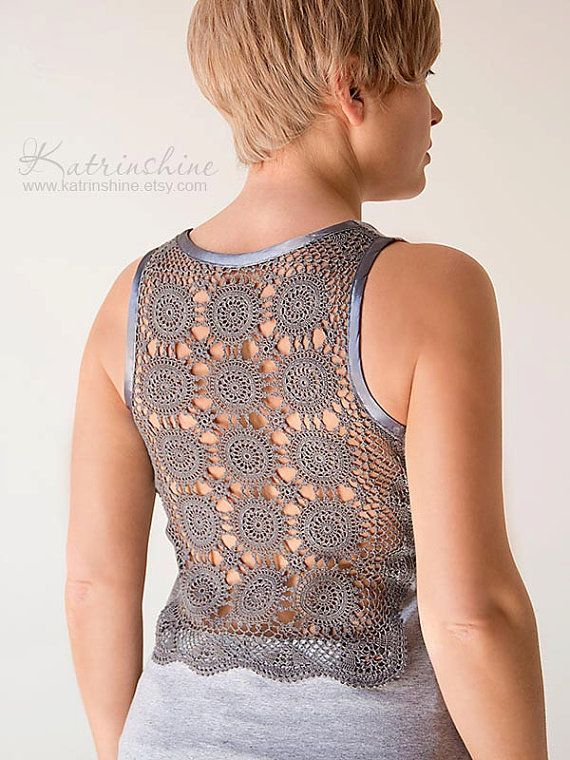 Grey Tank Top with upcycled vintage hand dyed crochet back