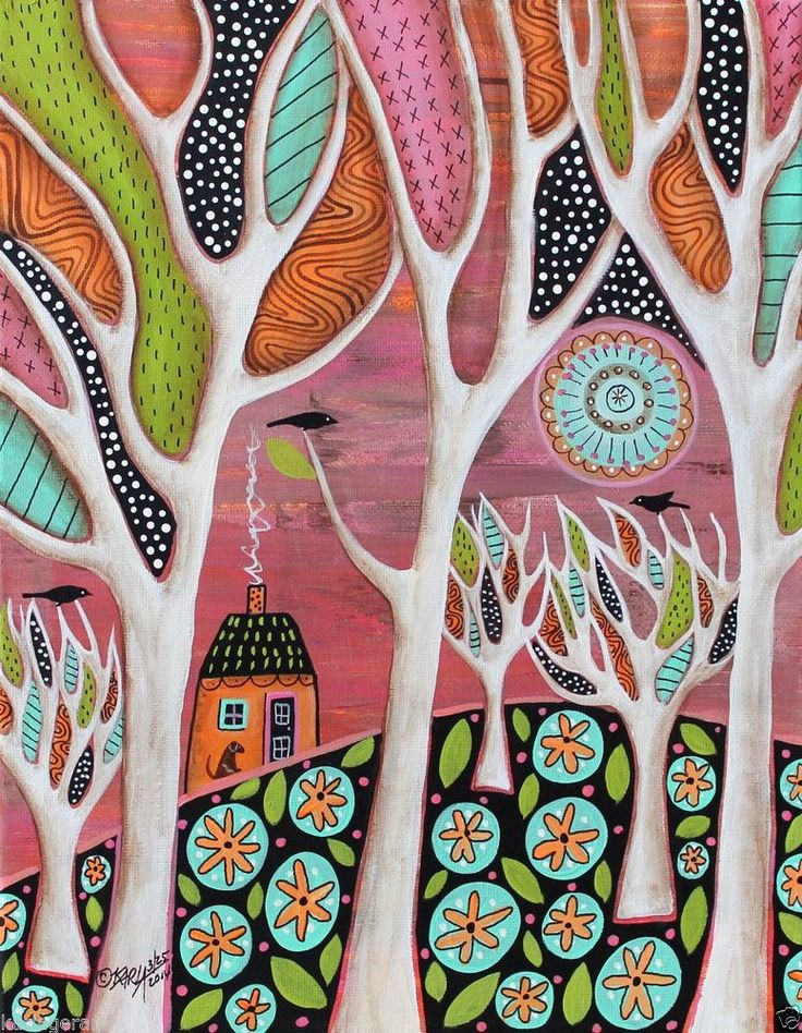 Brown Dog 11x14 Birds House ORIGINAL Canvas PAINTING Abstract FOLK ART Karla G