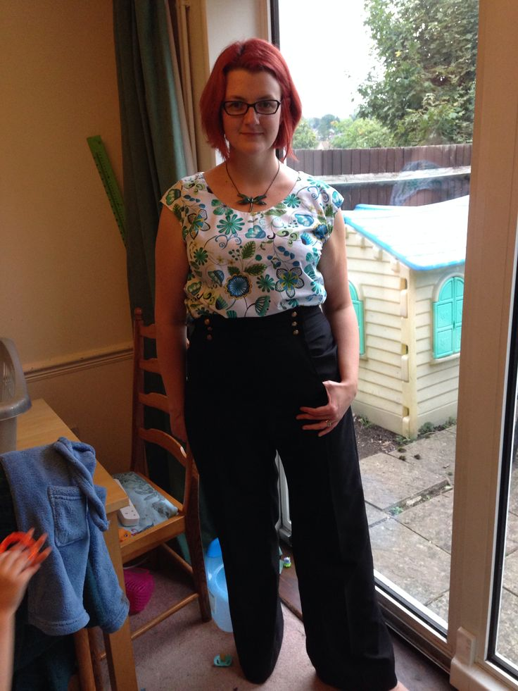 Second portrait blouse from Gertie's book and my first trousers! Made from burda kasia skirt pattern with self-drafted trouser adjustment and full derrière adjustment for my bubble butt. Sooooo chuffed with these trousers