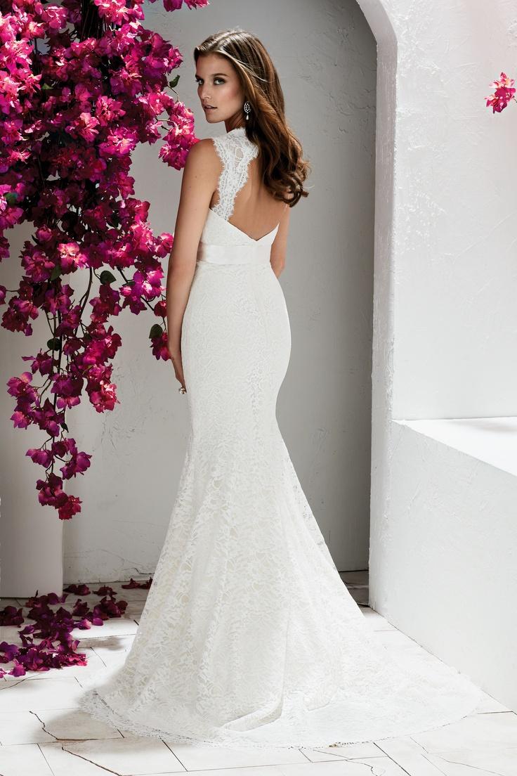 Lace key hole wedding dress