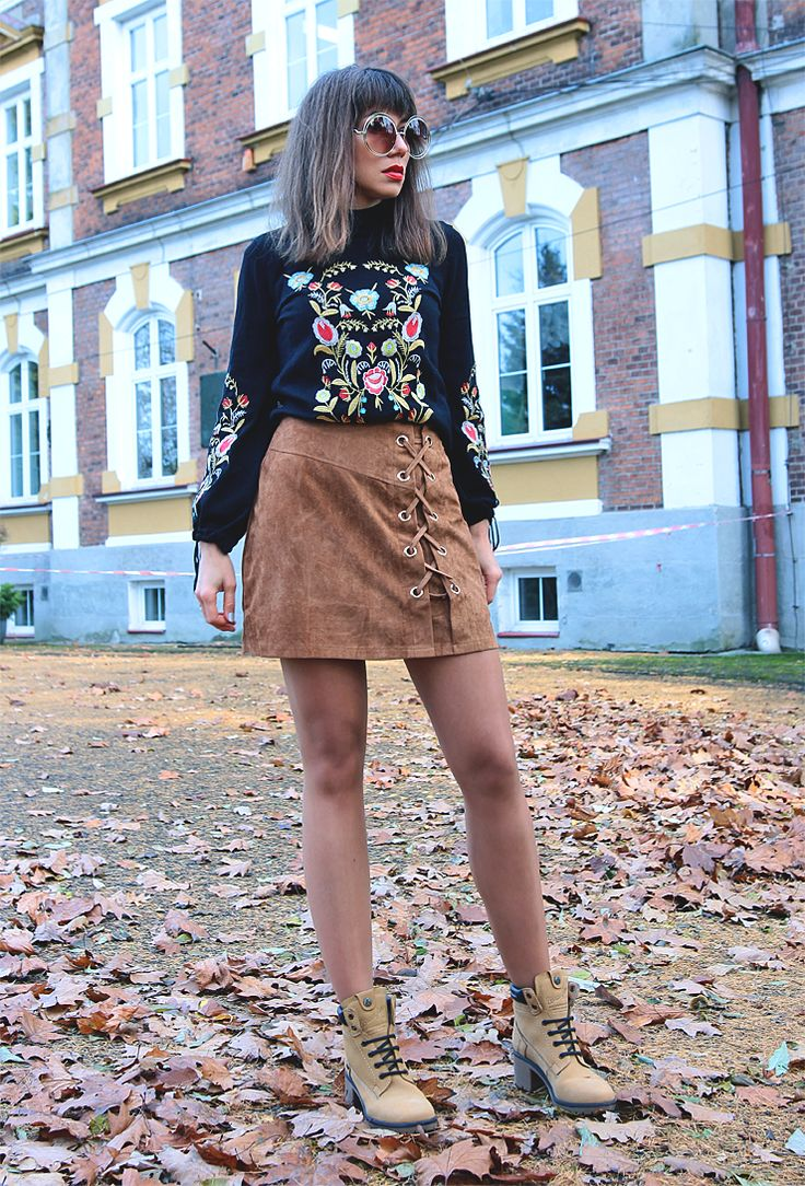 new ootd with embroidered sweater and lace up suede skirt: https://jointyicroissanty.blogspot.com/2017/11/seventies-inspired.html