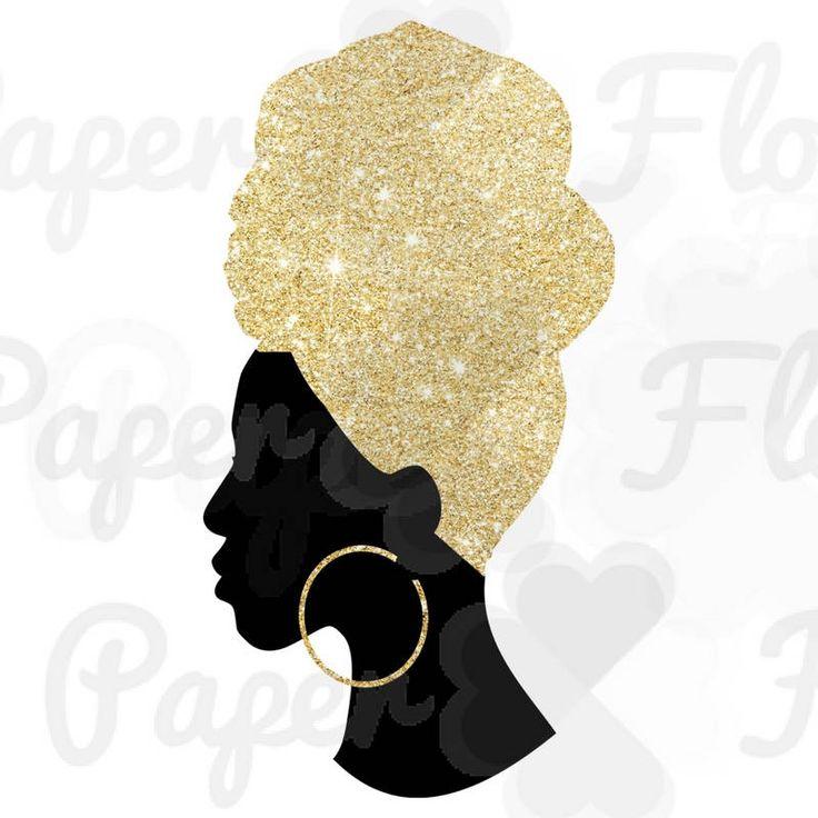 Headwrap Woman Svg Gold Glitter Headwrap Png Gold Black