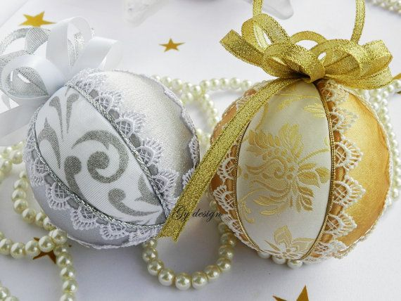 Silver gold laced ornaments Christmas ornaments quilted by Gydesi
