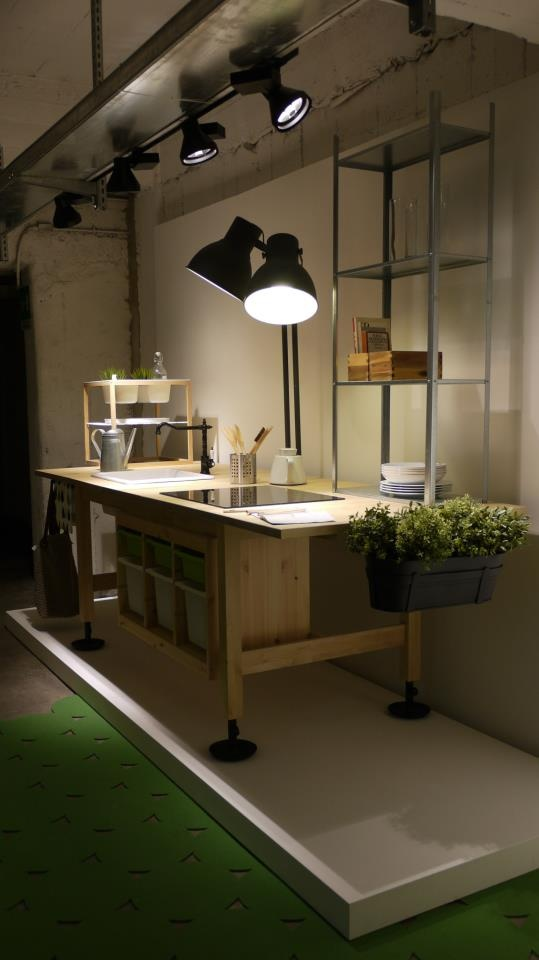 Freestanding 'Unacucina' unit constructed entirely from Ikea products by Teste Di Legno.