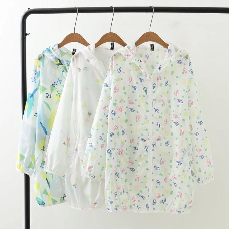XL женщин летом Корейский Loose тонкий жир мм Длинные печати с капюшоном Солнцезащитная куртка 200 фунтов - Taobao