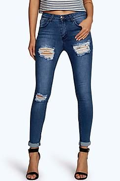 Jess Mid Rise Distressed Thigh Skinny Jeans
