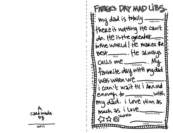 father u2019s day mad libs card for your kiddos to fill