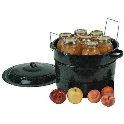 Black Granny-Ware Canner 21.5 quarts $24.95: Black Granny War, Canning Racks, Clean Easili, Racks Includ, Enamelware Canner, Black Enamelware, Black Enamels, Canning 101, Food Preserves