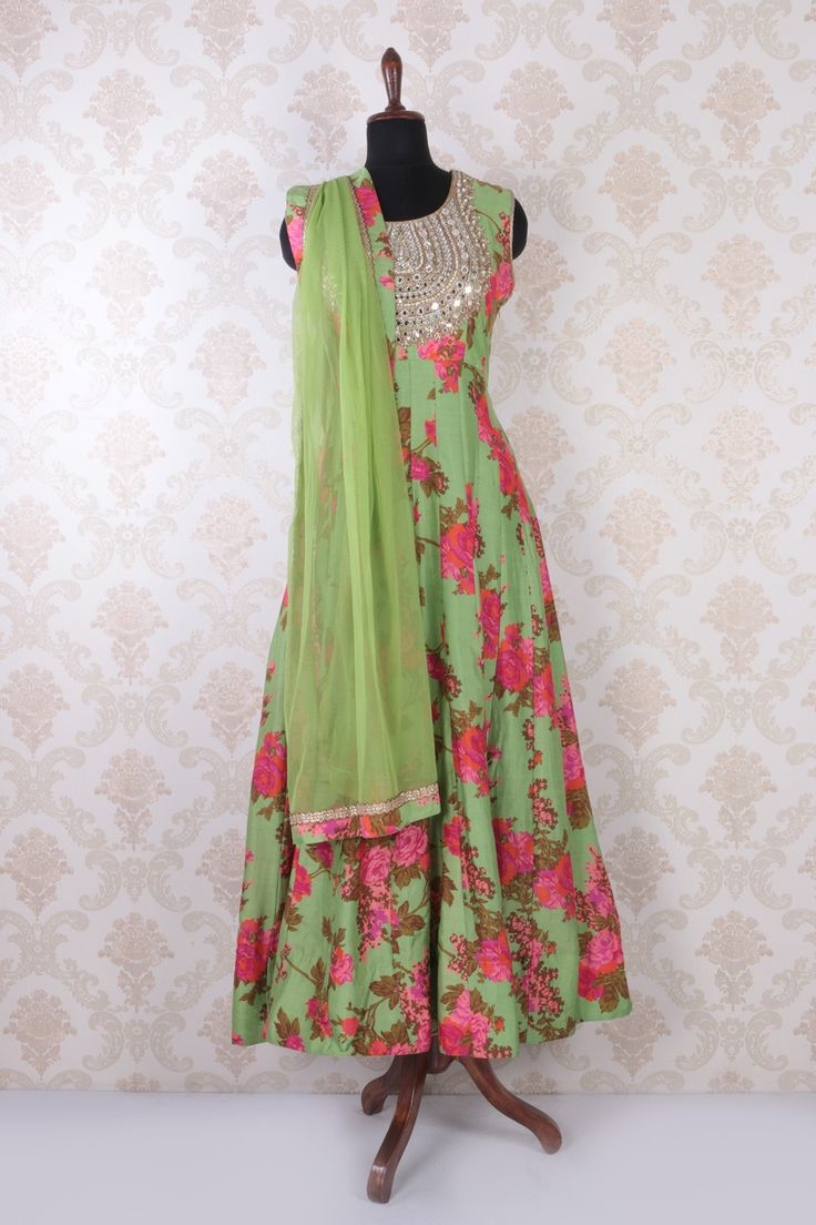 #Green multicoloured raw #silk discerning #anarkali with #short yoke -SL4436