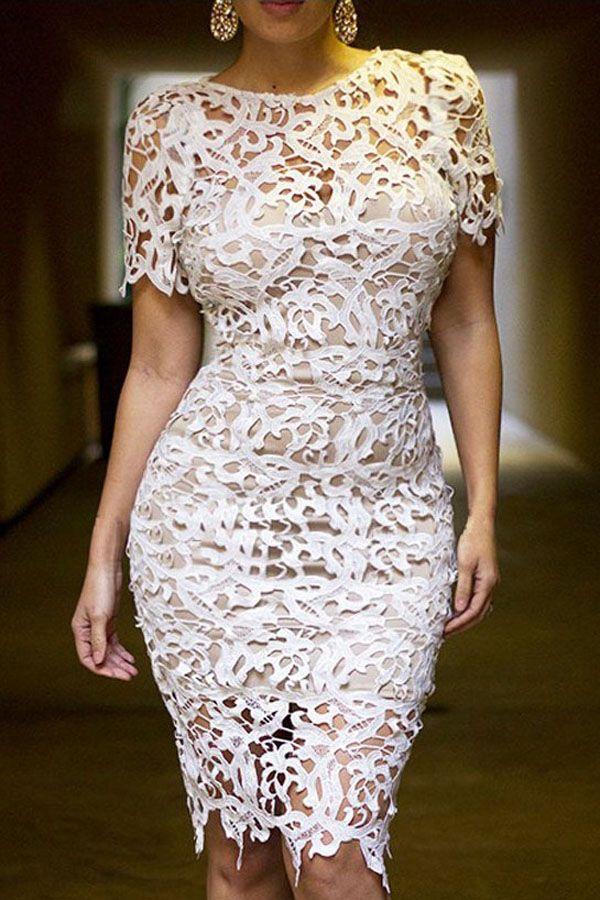 Cream White 2pcs Hollow-out Lace Midi Dress