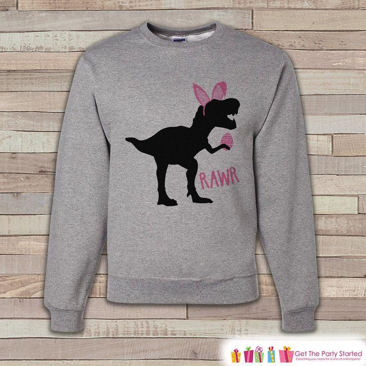 Adult Easter Shirt - Funny Easter Bunny Dinosaur Happy Easter Sweatshirt - Dino Pink Bunny Ears Easter Shirt - Easter Grey Adult Sweatshirt