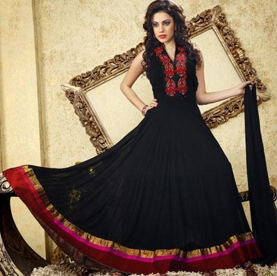 $147.71 Black Faux Georgette Long Stone and Resham Work Anarkali Suit 24521
