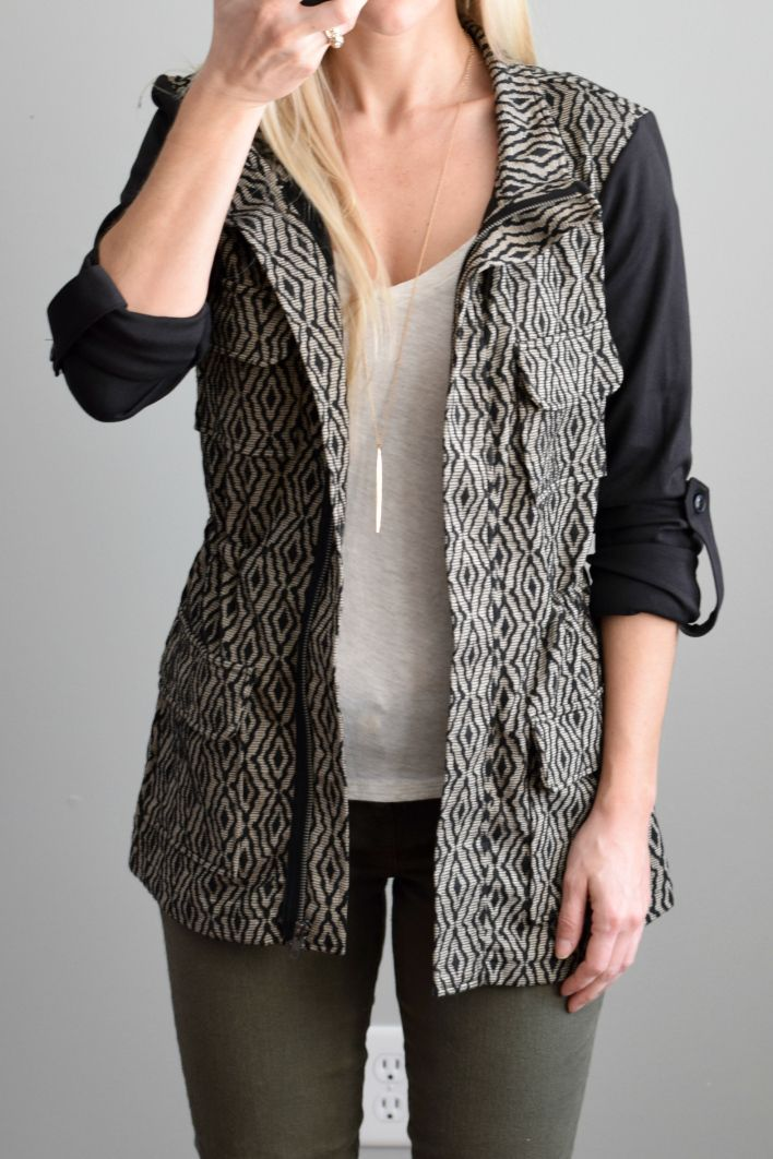 Dear stylist, I like the pattern of this jacket, looks a little like a vest. Would be fun to pair with jeans for a casual day out.