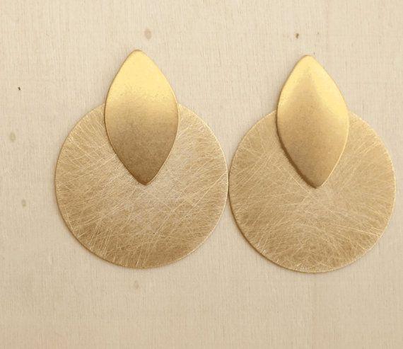 geometric earrings - brass jewelry - stud earrings - golden earrings - contemporary jewelry - post earrings  - minimalist jewelry -