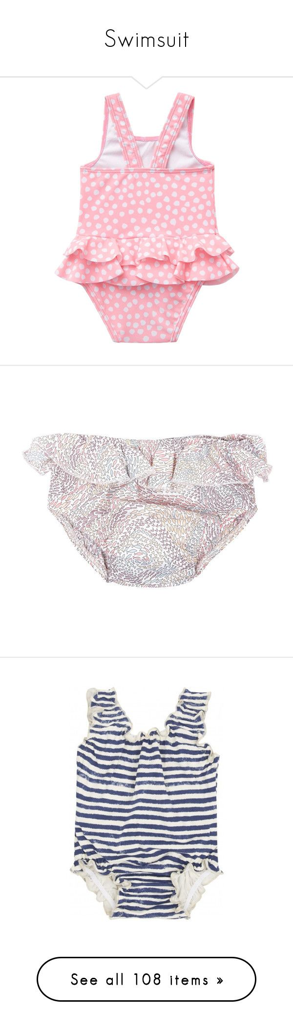 """Swimsuit"" by littlekidsfashion ❤ liked on Polyvore featuring swimwear, polka dot swimwear, bathing suit swimwear, upf swimwear, polka dot swim trunks, swim costume, baby girl, girls, swim and navy"