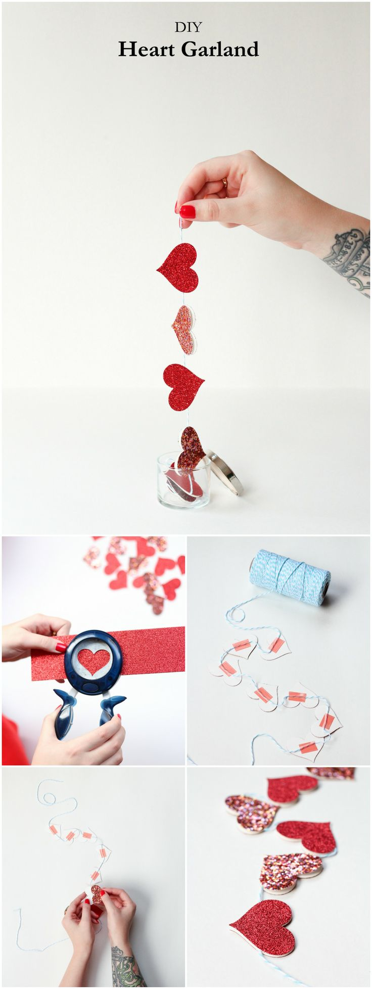 DIY How to make a simple Heart Garland.
