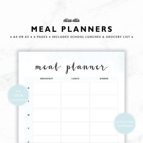 MEAL PLANNERS / Weekly Meal Planner / 2017 Planner / Dinner Planners / Printable Meal Planners / The Lola Planners in Snowdrop / 417