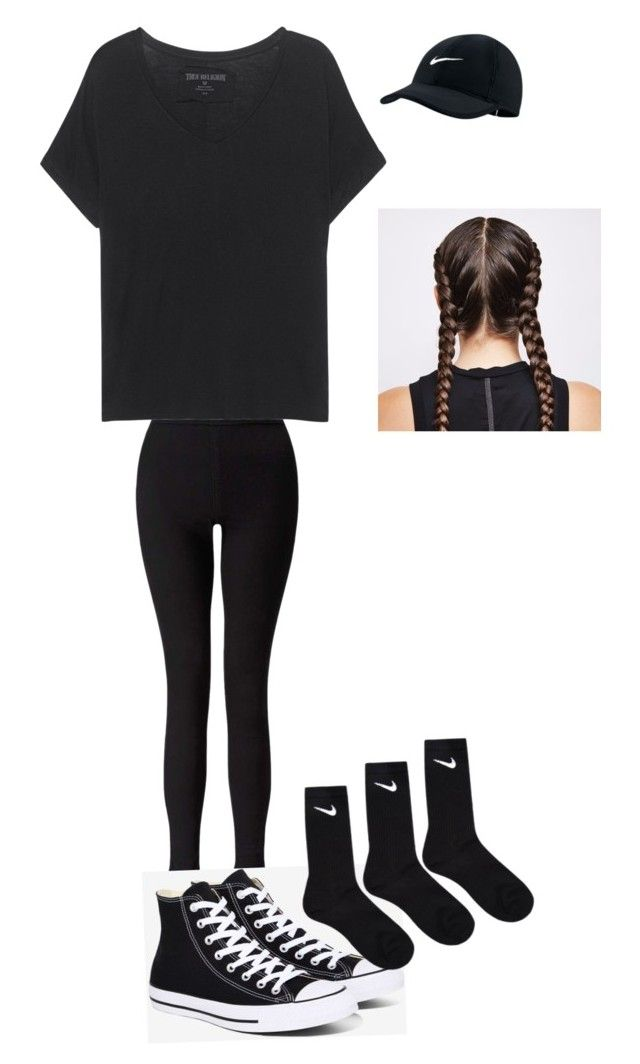 """Black out football game highschool"" by gibson-2 on Polyvore featuring Miss Selfridge, True Religion, Converse and NIKE"