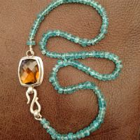 Brandy Citrine clasp in sterling silver, finishing a strand of Apatite beads
