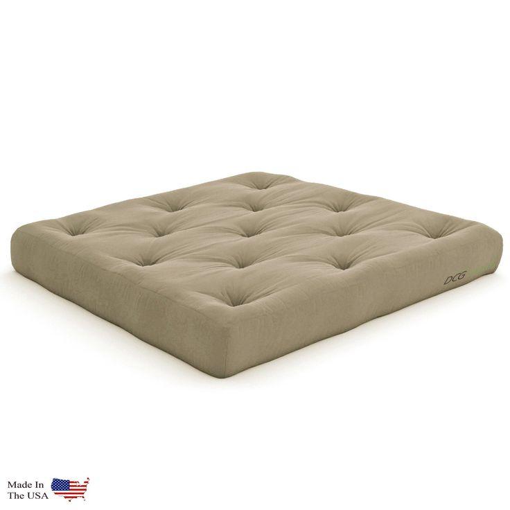 Extra Thick Premium 10-Inch Loveseat Futon Mattress, Khaki Twill - Made in USA